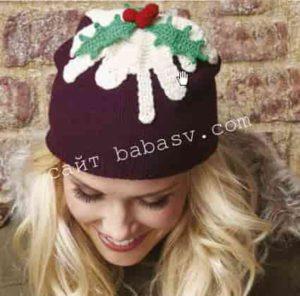 Как связать новогоднюю шапку с аппликацией