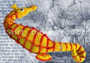 Как вязать полосы на теле морского конька