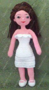 Как связать крючком платье для куклы-невесты