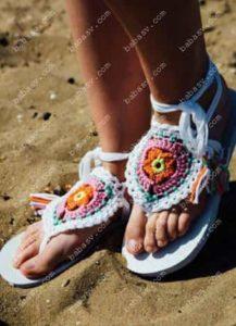 Как связать мотив для пляжных шлепанцев