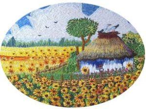 Как вышить поле подсолнухов