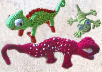 Как связать крючком хамелеона, ящерицу и геккона