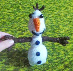 Как связать крючком большого снеговика