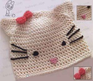 Связанная крючком шапка в виде котенка