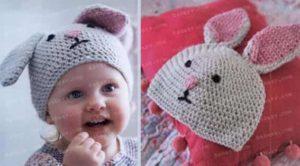 Связанная крючком шапка в виде зайца