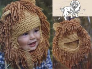 Связанная крючком шапочка шапочка льва