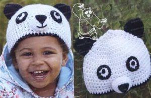 Связанная крючком шапка в виде панды