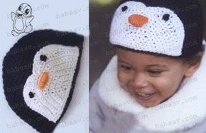 Связанная крючком шапка в виде пингвина