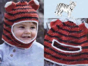 Связанная крючком шапочка тигра