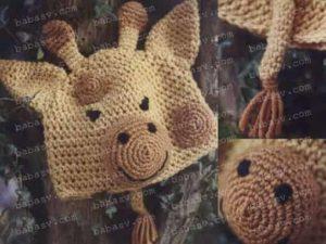 Детали вязания шапки жираф