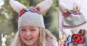 Как связать крючком шапочку в виде кролика