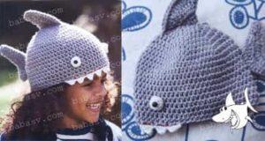 Как связать крючком шапочку в виде акулы