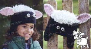 Как связать крючком шапочку в виде овцы