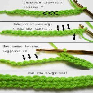 Вязание крючком на цепочке сзади