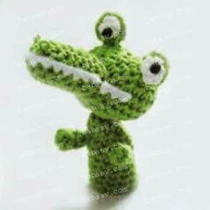 Как связать крючком пальчиковую игрушку крокодил