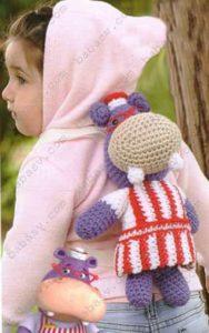 Как связать рюкзак в виде бегемота для маленьких детей