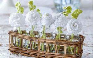 Как связать листья и розы как свадебные украшения