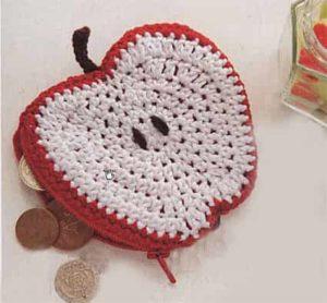Связанный крючком яблочный кошелек