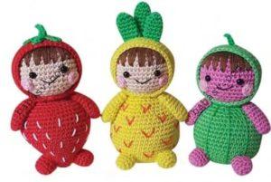 Связанные крючком фруктовые куклы