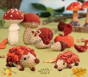 Игрушки осеннего леса крючком
