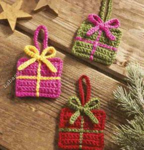 Как связать елочный подарок