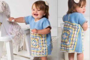 Платье детское с квадратами