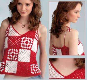 Вязание блузы из квадратов