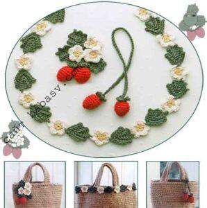 Связанные крючком ягоды и цветы клубники