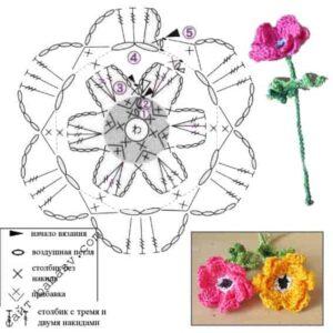 Пышные цветы крючком