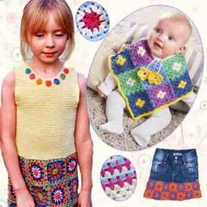 Бабушкин квадрат: идеи для детей  Clothes-children-motives-300x300