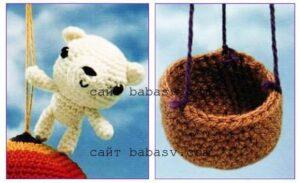 Вязание мишки и корзинки от шара