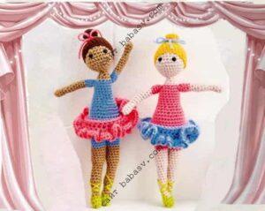 Две куклы балерины связаны крючком