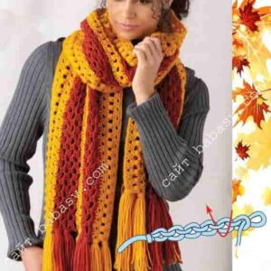 Оранжевый шарф крючком