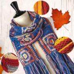 Осенний шарф связан крючком