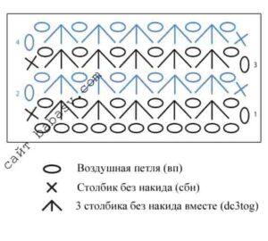 Схема вязания узора Звездочка крючком
