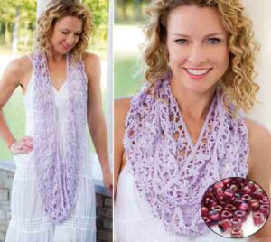 Ажурный шарф с бисером крючком