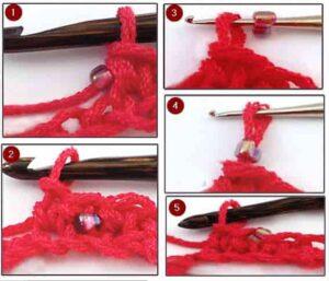 Вязание с бисером на столбиках с накидами крючком