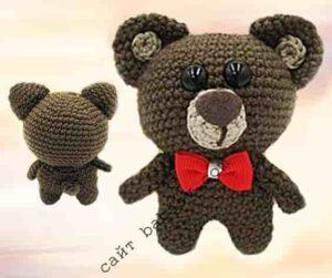 Медведь связан крючком по описанию