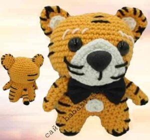 Тигр амигуруми связан крючком по описанию