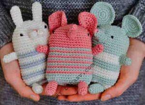 Кролик, мышка и слон связаны крючком по описанию