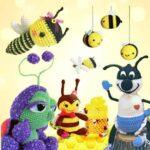 Пчела среди игрушек связана крючком