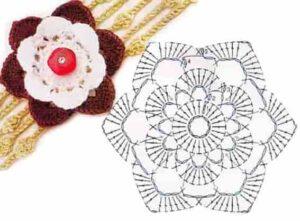 Цветочный обруч с объемным цветком