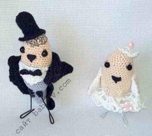 Амигуруми игрушки жених и невеста связаны крючком
