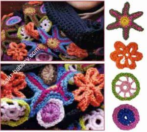 Цветочная полоса для шарфа снуда связана крючком