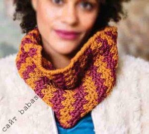 Цветной и удобный женский яркий шарф крючком