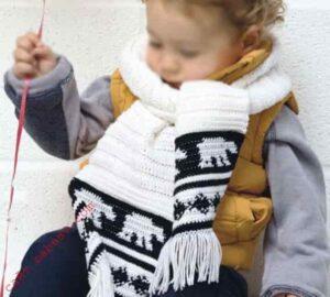 Цветной и удобный детский шарф крючком