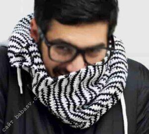 Цветной и удобный мужской шарф крючком
