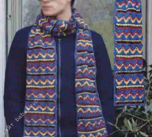Цветной и удобный мужской шарф узором зигзаг крючком