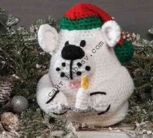 Новогодняя мягкая игрушка медведь связана крючком