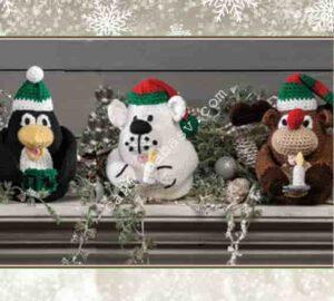 Новогодние мягкие игрушки декоративные связаны крючком